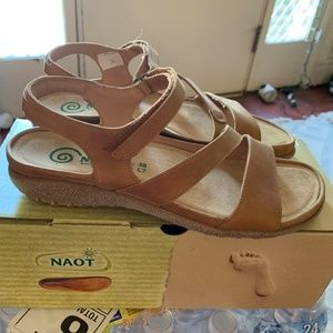 NAOT Etera Brown Leather Sandal, Sz 38 NEW IN BOX